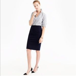J.Crew Black Wool Suiting Pencil Skirt